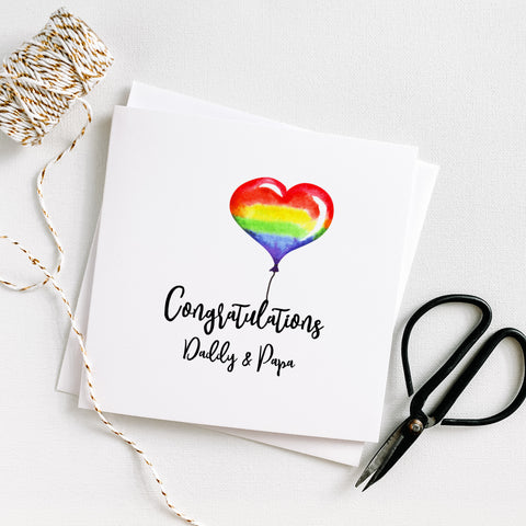 LGBTQ Congratulations Heart Balloon Daddy & Papa