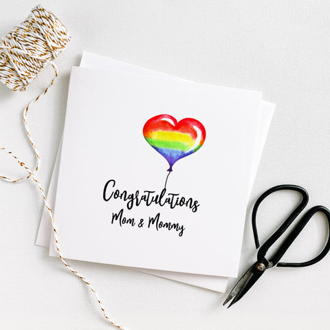 LGBTQ Congratulations Heart Balloon Mom & Mommy