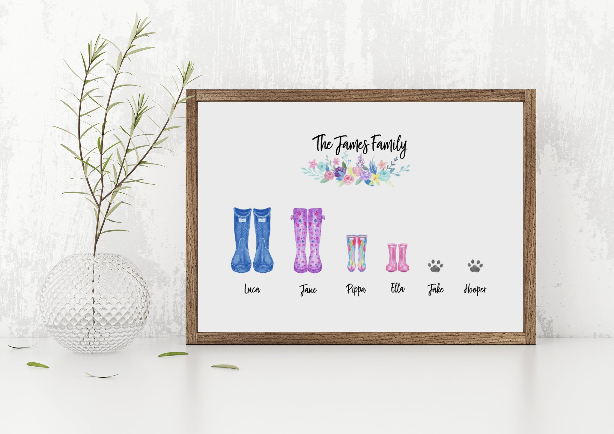 Family wellyboot print / adoption announcement print / wellyboot family print