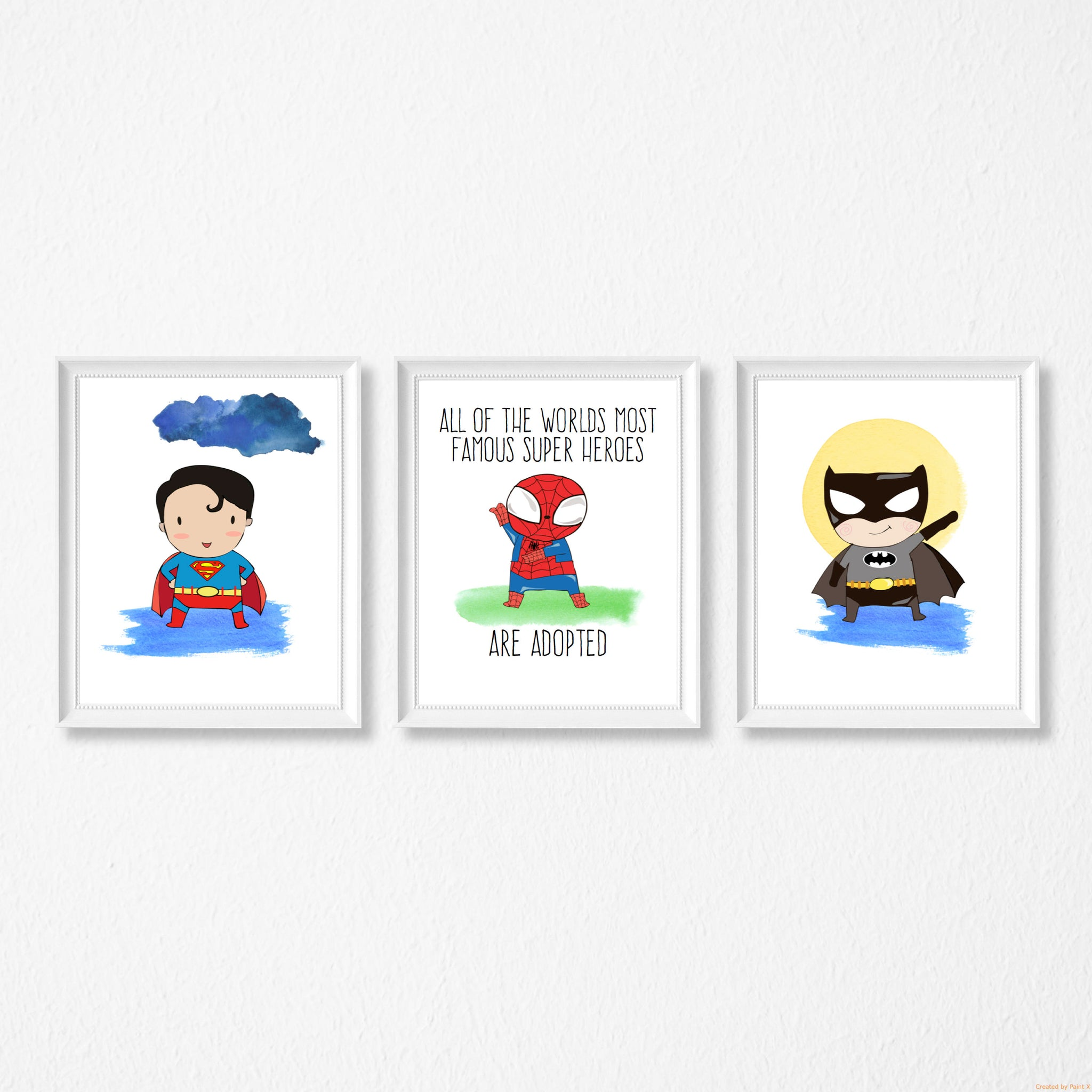 The most famous superheroes are adopted - trio of prints