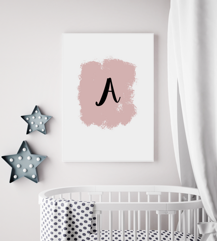 Initial print / initial art / nursery / newborn / wedding print
