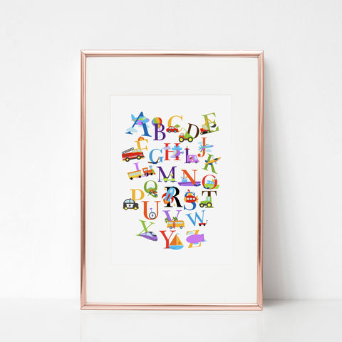 Transport alphabet print