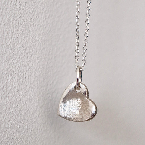Finger print heart necklace