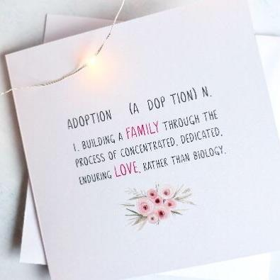 Adoption definition celebration card.