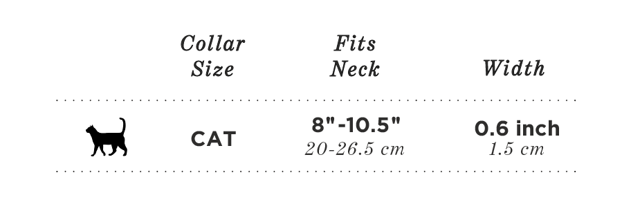 Cat collar size chart