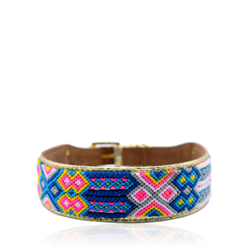 Handcrafted pink and blue dog leather collar with gold accents