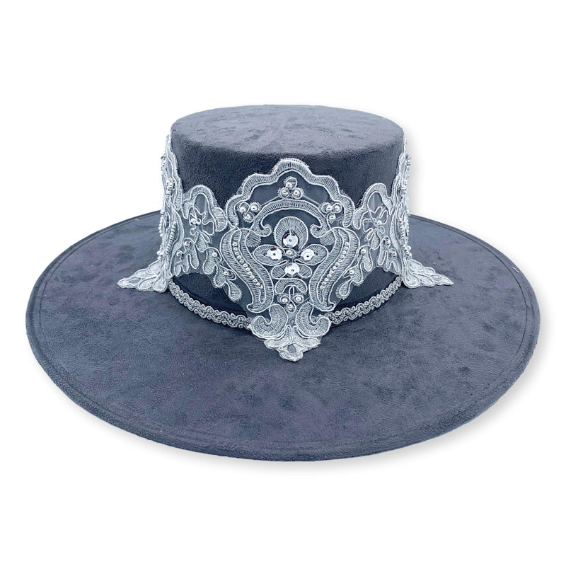 Donatella Sequin Embellished Suede Bolero Hat