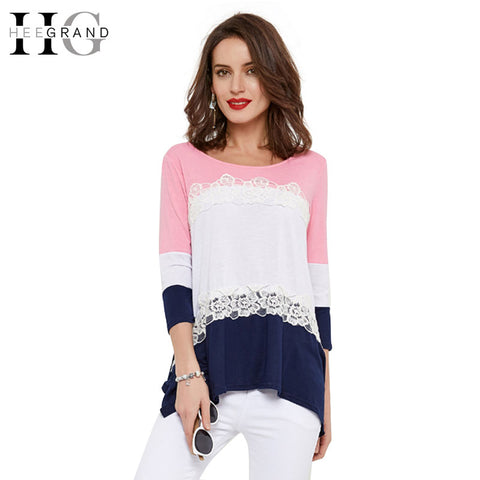 HEE GRAND Casual T-shirt Women Patchwork Fashion Tees For Spring Three Quarter Sleeve Loose Tops For Women O-Neck Shirt WTL1042