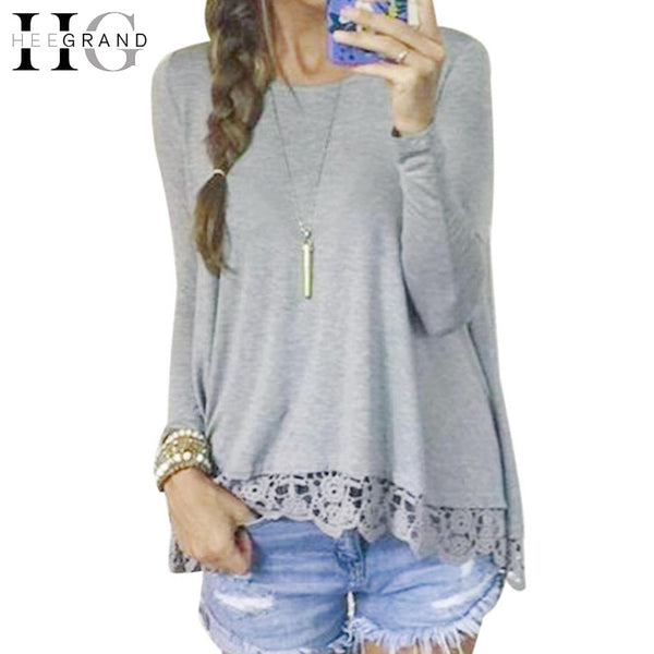 HEE GRAND Women Fashion Pullover Long Sleeve Lace T Shirt Ladies Grey Loose Sweater Tops O-Neck Spring Autumn Casual Tee WTL1350