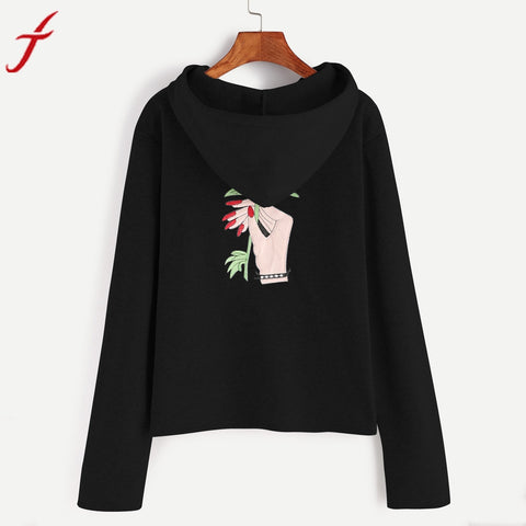 Women Hoodie Sweatshirt Basic Black Flower Printing Sweatshirt Jumper Long Sleeve Crop harajuku Pullover hoodie Tops