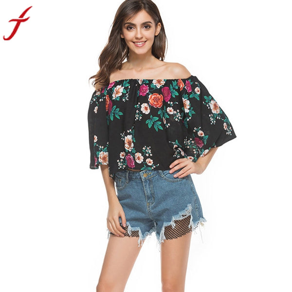 Fashion Summer Spring Blouse Women Off Shoulder Floral Printed Casual Tops Shirt Woman Short Sleeve Vintage Flare Skeeve Blusa