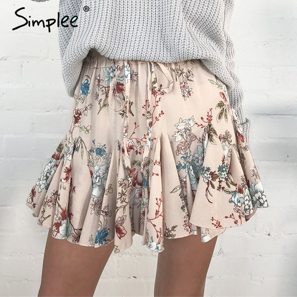 Simplee Elastic floral print mini skirt women Ruffle a-line short skirt female Causal streetwear high waist skirt 2018 spring