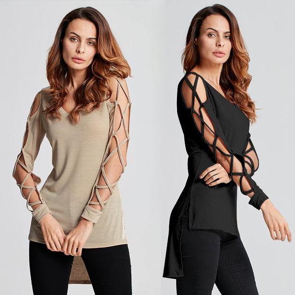 Celmia Blusa Women Blouse 2018 Spring Autumn Sexy V-neck Hollow Out Long Sleeve Bandage Shirt Casual Top Women Clothes Plus Size