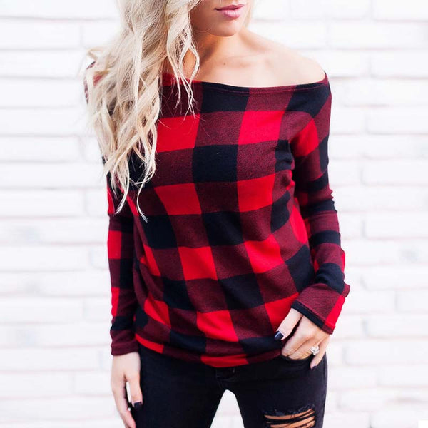 2018 Sexy Women Off Shoulder Long Sleeve Plaid Check Casual Blouse Ladies Spring Baggy Vintage Work Shirt Pullover Loose Top
