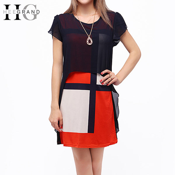 HEE GRAND 2018 Women Spring Colorful Patchwork Dresses Chiffon Loose Plus Size Casual Dress Color-Block One-piece WQS2233