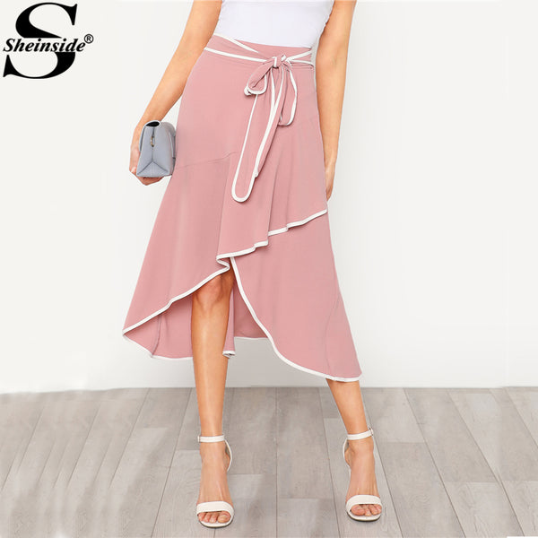 Sheinside Pink Asymmetric Ruffle Belted Skirt Mid Waist Zipper Long Length Skirt 2018 Spring Elegant Women Popular Skirt