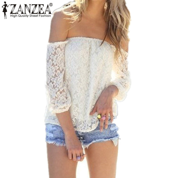 Zanzea Women Lace Blouse 2018 Spring Summer Off Shoulder 3/4 Sleeve Sexy Tops Shirts Casual Crochet Black White Plus Size Blusas