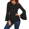 2018 Fashion Women Cross-over V-neck Crochet Hollow Long Bell Sleeve Spring Fall Casual Slim Fit Solid Tops Shirt Blouse Blusas