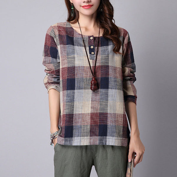 S-5XL ZANZEA Women Spring Plaid Check Long Sleeve Buttons Tartan Shirt Casual Elegant Cotton Linen Office Work Blouse Baggy Top