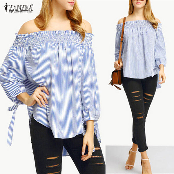 ZANZEA 2018 Women Spring Summer Blusas Sexy Off Shoulder Slash Neck Striped Casual Slim Bow Blouse Tops Plus Size Party Shirts