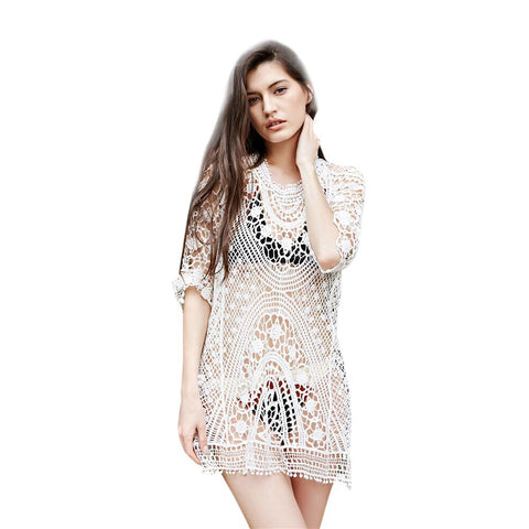 Women Embroidery Lace Hollow Out Dress Suit Bikini Swimwear Beach Swimsuit Smock