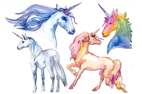 Watercolor unicorn royalty free images
