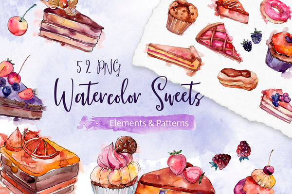 Cake sweet happiness watercolor png