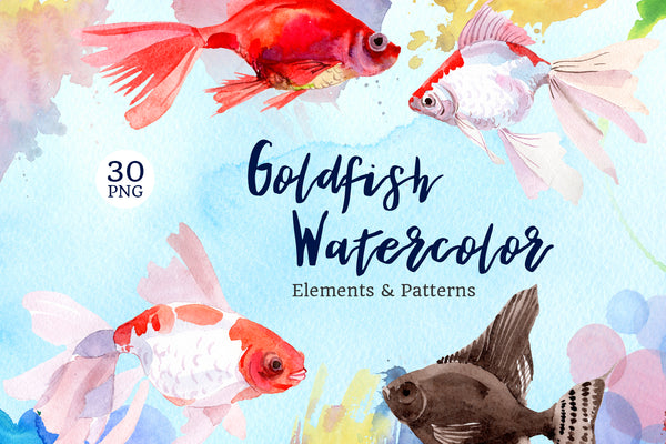 Fairytale Red Goldfish Watercolor PNG