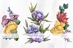 Hand-drawn watercolor flowers and bouquets png
