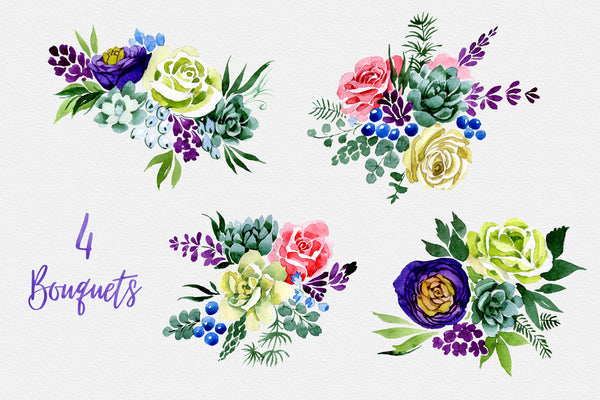 Bouquet of flowers Wedding watercolor png