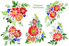 Bouquet of flowers Frederick red watercolor PNG