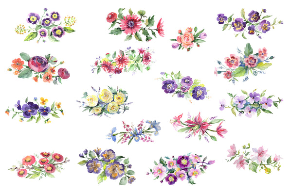 Bright bouquet of watercolor flowers png