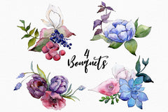 Bouquet of flowers touching your lips watercolor png