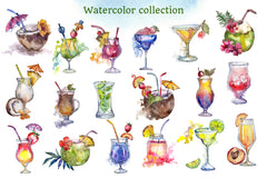 Cocktail illustrations watercolor party png