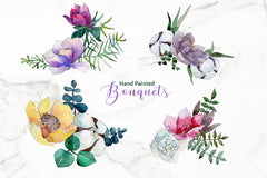 Bouquet of flowers Vienna Waltz Watercolor background clipart PNG