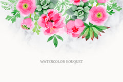 Buttercup flowers pink Watercolor png