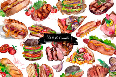 Fast food hot dog watercolor png