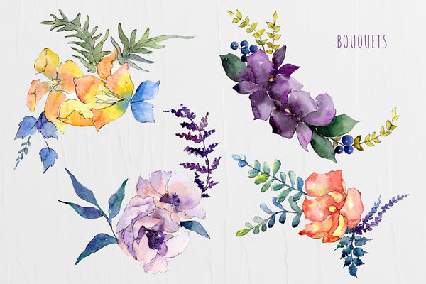 Watercolor Bouquet Summer Garden png