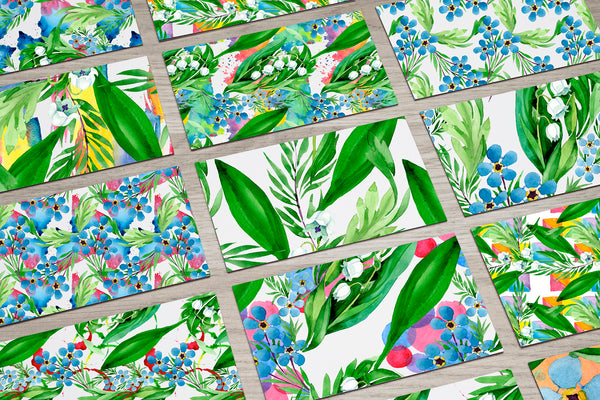 Lily of the valley watercolor and forget-me-nots png