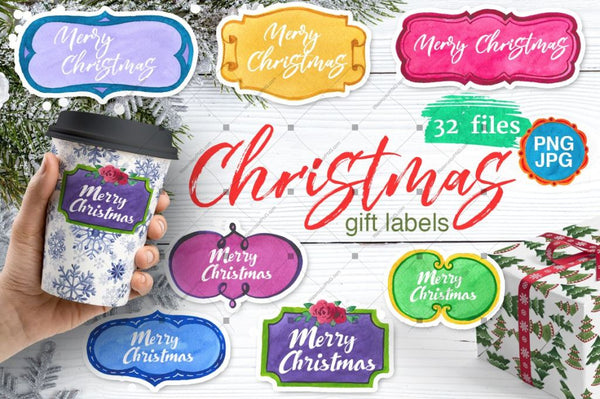 Gift Labels Png Watercolor Set Digital