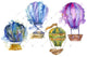 Hot air balloоn PNG watercolor set
