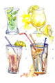 Ice tea PNG watercolor set
