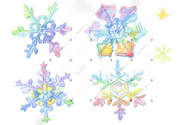 Aquarelle Colorful Snowflakes Png Set Digital