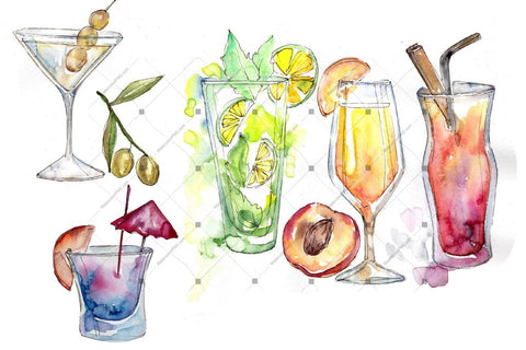 Refreshing Cocktails Png Watercolor Set Digital