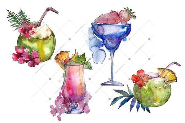 Exotic Cocktails Png Watercolor Set Digital