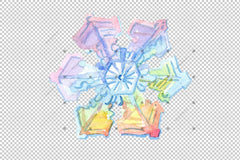 Aquarelle Colorful Flakes Snow Snow Set