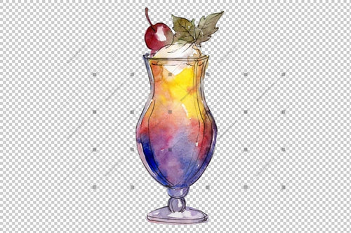 Watercolor Exotic Drink Cocktail Png Set Digital