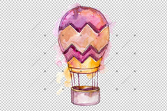 Watercolor Pink Hot Air Balloon Png Set Digital