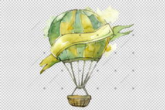 Acuarelă Vacanță Hot Air Balloon Png Set Digital