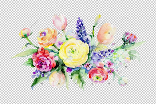Bouquet Summer Flowers Png Watercolor Set Flower